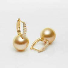 Bigger 12.2mm+ Rich Golden South Sea Pearl Hoop Earrings 14k Solid Yellow Gold