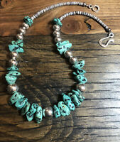 """#1202 Kingman Turquoise, Heishi, Sterling Silver Beads, 18 1/2"""" Necklace"""