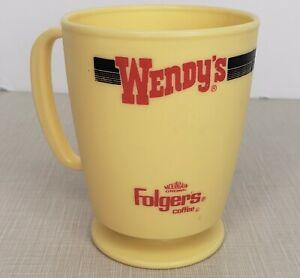 Vintage Wendys Folgers Advertising Coffee Cup Yellow Plastic Whirley Industries