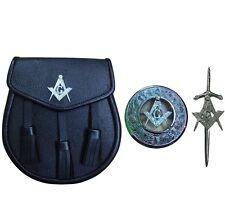 Kilt FLY PLAID SPILLA MASSONICA / LEATHER Kilt Sporran massonica / Scottish Kilt PIN