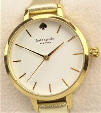 Kate Spade METRO Watch KSW9008 Ladies 30mm White Dial Gold Leather Band $195 NEW