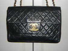 CHANEL Vintage Large CC Maxi, Black Lambskin Leather with Gold H/W, #3609309