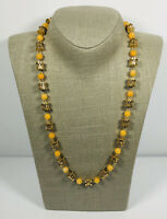 Vintage Necklace Gold Tone & Orange Plastic Beads Collar Length Cute Kitsch