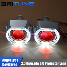 LED DRL Angel Halo Devil Eyes Mini 2.5'' HID Bixenon Projector Lens Upgrade 8.0
