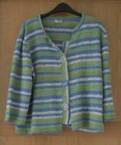 Ladies M&S Per Una Green Mix 3/4 Sleeve Cardigan Size XL