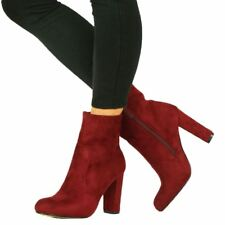 Womens Faux Suede Chunky High Block Heel BOOTS Ankle Side Zip Closed Toe Shoes Red UK 6