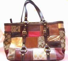 "Coach Logo Patchwork Leather/ Suede/ Fabric Tote Handbag Purse 15"" x 9"" x 4.5"""