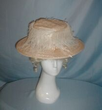 Antique Hat Edwardian 1912 Pale Beige Straw Feather and Ribbon Trim