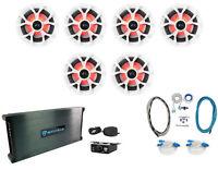 "(6) Rockville RKL65MBW 6.5"" 700w Marine Boat Speakers w/LED+Amplifier+Amp Kit"