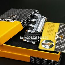 COHIBA Black Gridding Stripes 3 Torch Jet Flame Cigar Lighter With  Punch