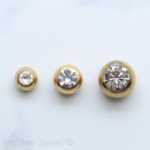 SIMULATED DIAMOND YELLOW GOLD IP BELLY RING LABRET SPARE 14G REPLACEMENT BALL