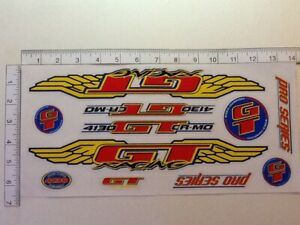 GT Pro Series 4130 CR-MO  Stickers Red, Yellow & Blue. Die Cut.