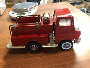 Louis Marx Toy Fire Rescue Truck Red 6 Inch Metal