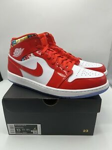 """Nike Air Jordan 1 Mid SE Shoes """"Barcelona Sweater"""" Patent Red DC7294-600 Size 13"""