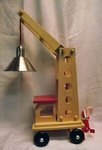 GREAT Pottery Barn Kids Large Wooden Crane Table Desk Lamp Adjustable Truck