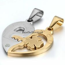 Men Women Couple Stainless Steel I Love You Lock and Key Heart Pendant Necklace