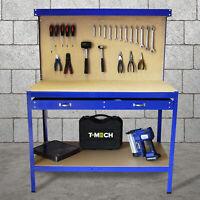 Werkbank mit Lochwand Werktisch Arbeitstisch Haken Schublade Werkstatt Blau