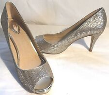 OASIS Shoes High Heel Gold  Sparkly Open Toe Slip-Ons Party Prom Size 6.5