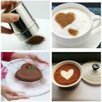 Edelstahl Schokoladen Shaker Puderzucker Pulver Kakaomehl Nett Kaffeesieb A7Q5