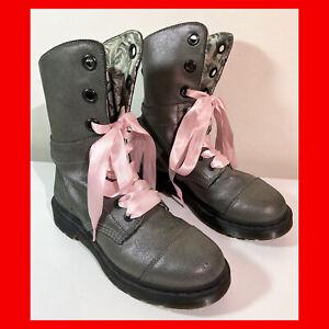 DR Doc MARTENS AIMILIE Pewter Metallic FOLD OVER BOOTS Women Sz US 8, UK 6