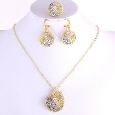 4 PC Set - Two Tone Butterfly Pave Pendant Necklace Chain Ring Earrings Crystal