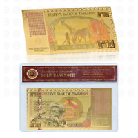 WR Gold Zimbabwe One Bicentillion Dollar Color Banknote World Money In Sleeve