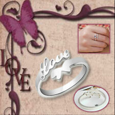 Hollow Love Script Promise Band Butterfly Tail 925 Sterling Silver Plated Ring