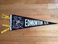 Vtg Edmonton Alberta Pennant Felt Banner 1960's Canada Souvenir AB Goose Travel