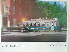HAND SIGNED JOHN BAEDER POSTER Streamliner O.K. Harris NEWPORT NEW HAMPSHIRE