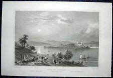 MAINAU bei Konstanz; Bodensee. Originaler Stahlstich TOMBLESON / LACEY, 1850