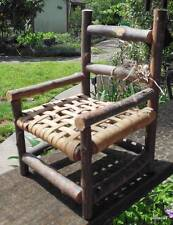 """Vintage Hand Made Twig Arm Chair 8 x 5 x 4.75"""" Woven Seat for Doll or Bear"""
