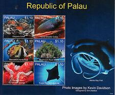 Palau 2013 Mnh Vida Marina v 6v m/s Coral cobie Esponja Peces Manta Eagle Ray