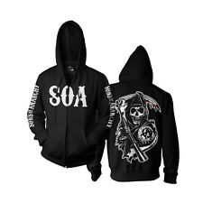 Officially Licensed Sons Of Anarchy - SOA Reaper Zipped Hoodie S-XXL Sizes