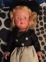 German Antique Bisque Doll Jointed Traditional Outfit Felt Hat Blonde Exc. Cond.