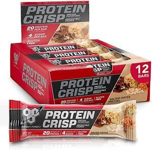 BSN Protein Crisp Bar | 20g Protein, Low Sugar | Salted Toffee Pretzel, 12 Bars