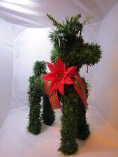 """Christmas Reindeer Green Pine Garland 15"""" Reindeer Figure Vintage Holiday"""