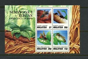 U927 Malaisie 1991 Insectes Wasps Feuille MNH