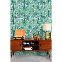 Aqua Banana Leaf Traditional Tropical Wall Home decor Non-Woven wallpaper Mural