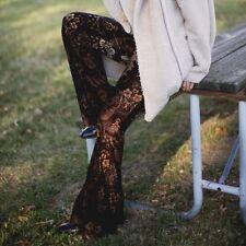 Free People Maura Black/Brown Floral Velvet Flare/Wide Leg Pants Boho NWT Large