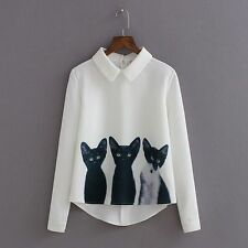 Casual Women Korean White Blouse Long Sleeve Fashion Cats Printed Pullover Shirt