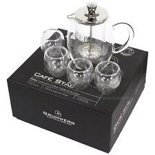 Grunwerg Cafe Stal Glass 350ml Cafatiere Coffee Maker & 4 Cups GCM-03/5