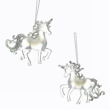 Clear Glitter Unicorn Ornaments, 4-Inch, 2-Piece