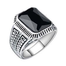 Edelstahl Ring Antique Black Stone Gothic Fantasy Antik silber Herren Gr.19 Neu