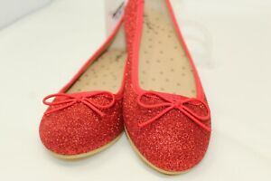NWT Cat & Jack Girls Shoes Ruby Red Glitter Slip on Ballet Flats SIZE 13