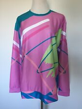 Womens UNIQUE 80 90s Style Hipster Sweater Sz XL Colorful! MUST SEE Pink