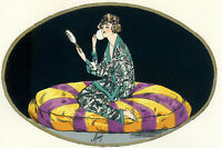 1930s French Pochoir Print Moury Flapper Girl Sitting Watching in Mirror  Makeup