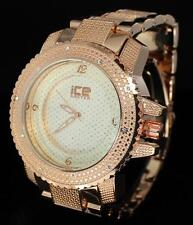 Rose Tone iCE Master CZ Stone 52mm Hip Hop Metal Bracelet Mens Bling Watch