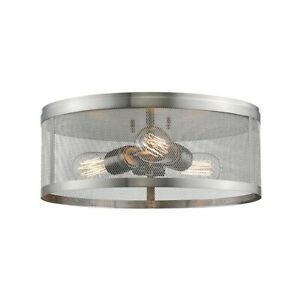"Z-Lite Meshsmith 3 Lt Flush Mount, 14.875x14.875x6"", Nickel, Nickel - 331F14-BN"