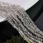 100pcs 3mm Cube Square Faceted Crystal Glass Loose Spacer Beads Clear Gray