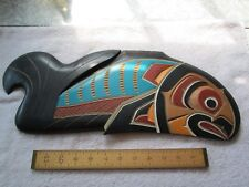 Signed Salmon Wall Carving - '90 - Bill Wilson - Kwatiuti Tribe - Exc Cond